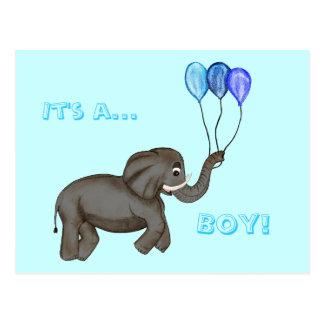 Elefante de la celebración azul postal