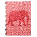 Elefante de la flor - de color rojo oscuro y coral libro de apuntes
