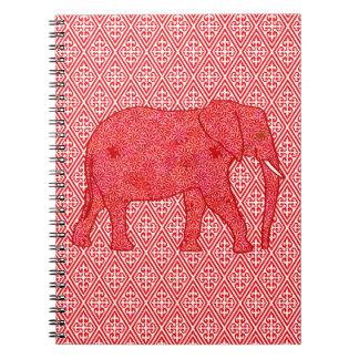 Elefante de la flor - de color rojo oscuro y spiral notebooks