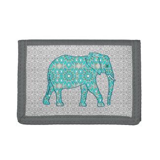 Elefante de la flor de la mandala - turquesa, gris