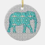 Elefante de la flor de la mandala - turquesa, gris adorno navideño redondo de cerámica