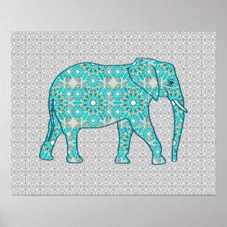 Elefante de la flor de la mandala - turquesa, gris póster