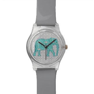 Elefante de la flor de la mandala - turquesa, gris reloj