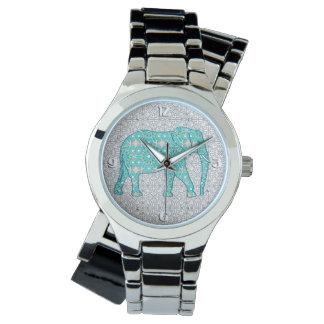 Elefante de la flor de la mandala - turquesa, gris reloj de mano