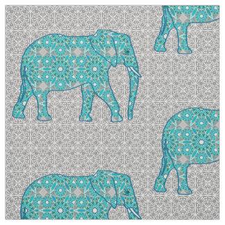 Elefante de la flor de la mandala - turquesa, gris telas