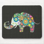 Elefante de la flor - el diamante tachona horizont tapetes de ratón