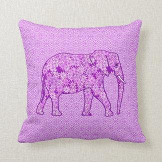 Elefante de la flor - púrpura amethyst cojín