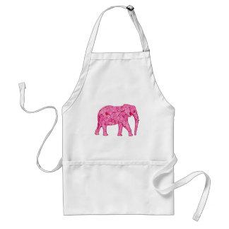 Elefante de la flor - rosa del fucsia delantal