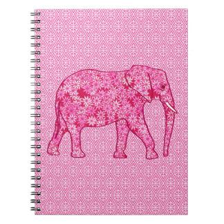Elefante de la flor - rosa del fucsia libretas