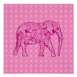 Elefante de la flor - rosa del fucsia póster