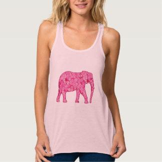 Elefante de la flor - rosa del fucsia playera de tirantes cruzados holgada