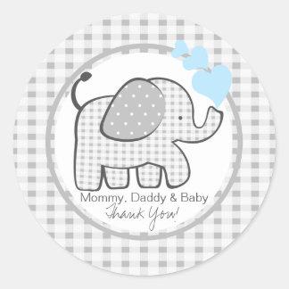 Elefante de la guinga con los corazones azules pegatinas redondas