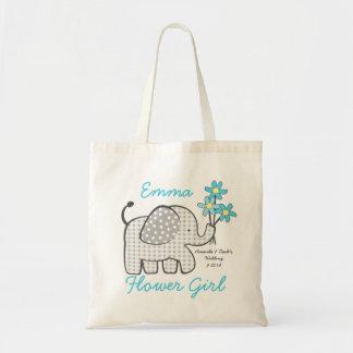 Elefante de la guinga del florista con el azul del bolsa de mano