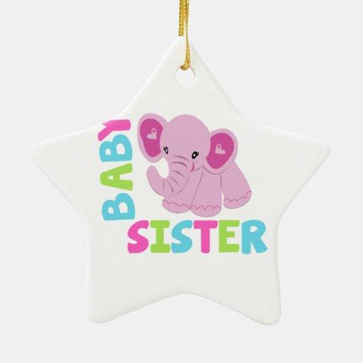 Elefante de la hermana del bebé ornamento de reyes magos
