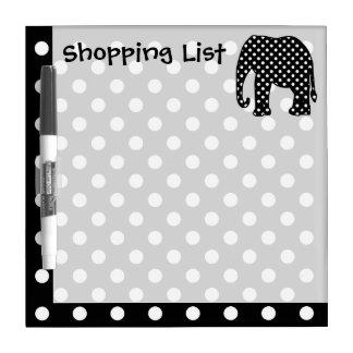 Elefante de la lista de compras tablero blanco