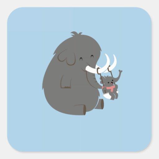 Elefante de la mamá y del bebé - bebé pegatina cuadrada