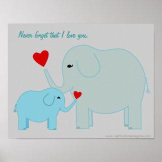 Elefante de la mamá y del bebé en poster de los az