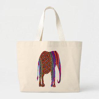 Elefante de la materia textil de la tribu de la co bolsa tela grande