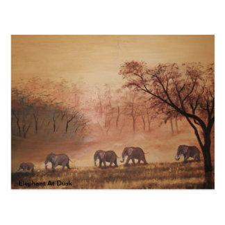 Elefante de la postal en la oscuridad