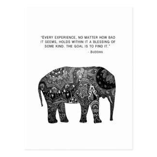Elefante de la sabiduría de la alheña de Buda Tarjetas Postales