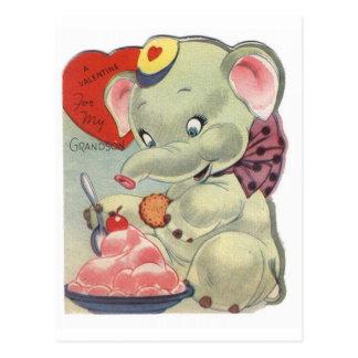 Elefante de la tarjeta del día de San Valentín Postal