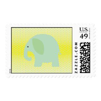 Elefante de la verde menta en amarillo sello