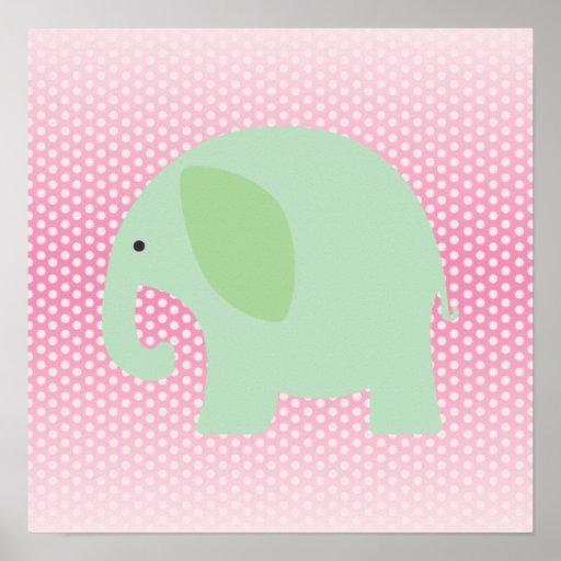 Elefante de la verde menta en rosa posters