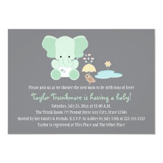 """Elefante de la verde menta pequeña fiesta de invitación 5"""" x 7"""""""