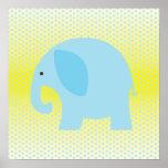 Elefante de los azules cielos en amarillo posters