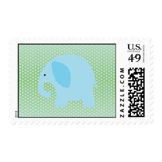Elefante de los azules cielos en verde menta sello