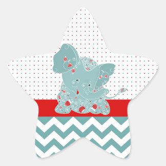 Elefante de moda adorable lindo del bebé de las pegatinas forma de estrellaes personalizadas