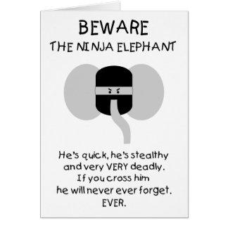 ¡Elefante de Ninja! Tarjeta De Felicitación