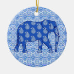 Elefante de Paisley - azul y blanco de cobalto Adorno Redondo De Cerámica