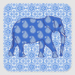 Elefante de Paisley - azul y blanco de cobalto Pegatinas Cuadradas