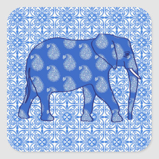 Elefante de Paisley - azul y blanco de cobalto Pegatina Cuadrada