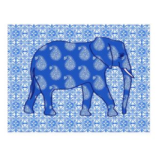 Elefante de Paisley - azul y blanco de cobalto Postales