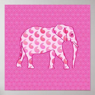 Elefante de Paisley - rosa y fucsia del hielo Póster