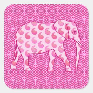 Elefante de Paisley - rosa y fucsia del hielo Pegatina Cuadrada