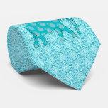 Elefante de Paisley - turquesa y aguamarina Corbata Personalizada