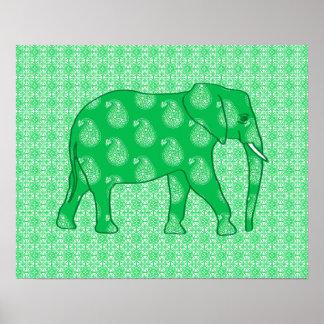 Elefante de Paisley - verde y blanco de jade Póster