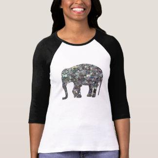 Elefante de plata colorido brillante del mosaico camisas