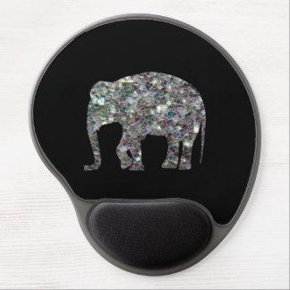 Elefante de plata colorido brillante del mosaico d alfombrilla de raton con gel