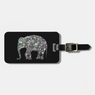 Elefante de plata colorido brillante del mosaico d etiquetas para equipaje