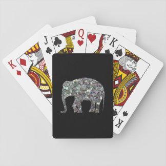 Elefante de plata colorido brillante del mosaico d baraja de cartas