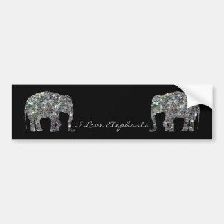 Elefante de plata colorido brillante del mosaico d pegatina para auto