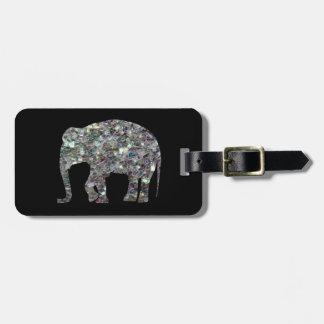 Elefante de plata colorido brillante del mosaico etiquetas bolsa