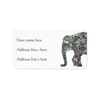 Elefante de plata colorido brillante del mosaico etiquetas de dirección