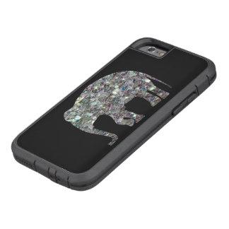 Elefante de plata colorido brillante del mosaico funda de iPhone 6 tough xtreme