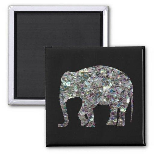 Elefante de plata colorido brillante del mosaico imán cuadrado