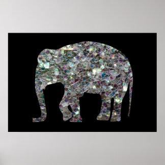 Elefante de plata colorido brillante del mosaico póster